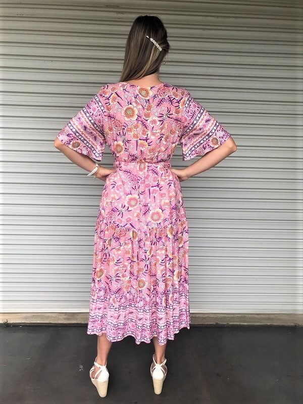 Back view light pink floral maxi