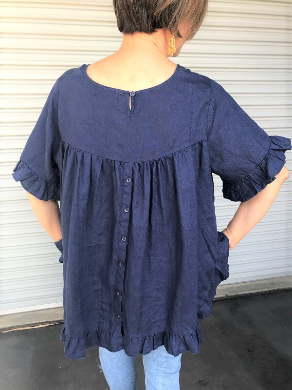 Navy linen top back view